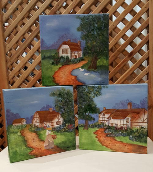 "Folk Art ""The Cottages"" - trio"