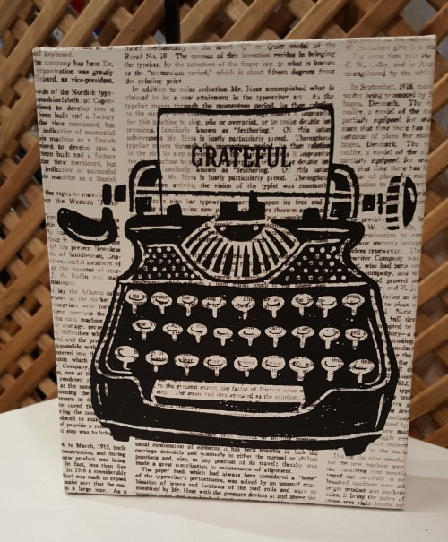 Sign: Vintage Typewriter Grateful