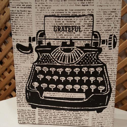 Sign: Vintage Typewriter Grateful